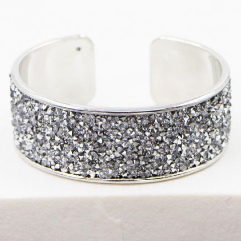 CRYSTAL ENCRUSTED DRESSY OPEN BANGLE SILVER